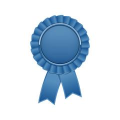 Blue award rosette with ribbon