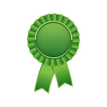 Green award rosette with ribbon