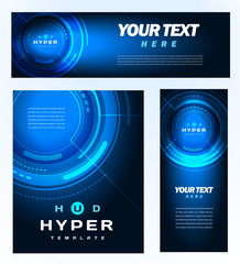 Hud hyper template design banner, flyer futuristic hi-tech blue background