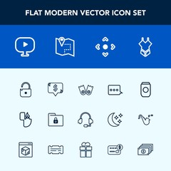 Modern, simple vector icon set with frame, message, file, protection, web, safety, media, road, video, underwater, support, sea, fashion, sign, microphone, summer, can, swimsuit, metal, arrow icons