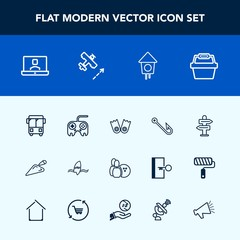 Modern, simple vector icon set with technology, equipment, button, web, fish, internet, bus, summer, ball, surfer, fishing, home, construction, wooden, hook, underwater, surfing, transport, surf icons