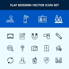 Modern, simple vector icon set with tree, search, house, wood, fashion, button, profile, field, baseball, sport, lens, shorts, retro, magnetic, equipment, sea, environment, internet, arrow, real icons