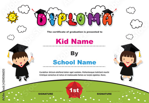 kids diploma certificate background design template stock image and