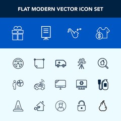 Modern, simple vector icon set with tool, vehicle, price, online, emergency, car, technology, pc, sale, box, home, package, real, estate, medical, people, ambulance, navigation, trumpet, camera icons