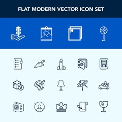 Modern, simple vector icon set with bank, rocket, growth, construction, package, electricity, fan, house, button, security, folk, equipment, space, lamp, music, shuttle, contract, document, real icons
