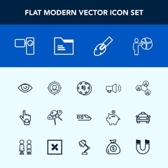 Modern, simple vector icon set with train, game, ufo, tripod, movie, finger, hand, railway, screen, spacecraft, display, eye, equipment, video, index, sign, gesture, concept, space, business icons