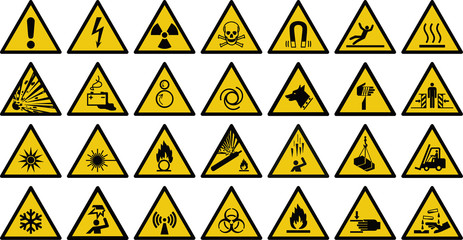 warning sign vector set of triangle yellow warning signs.   Fototapete