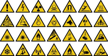 warning sign vector set of triangle yellow warning signs.   Wall mural