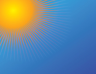 Sun  on blue sky background. Vector illustration of an abstract sun with radiating lines. Know as beams, rays, radiating lines, starburst or sunburst background.