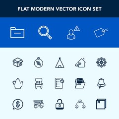Modern, simple vector icon set with ship, document, interior, checklist, house, adventure, tent, online, camp, outdoor, new, wheel, tea, web, sign, comfortable, delivery, tag, cargo, folder, box icons