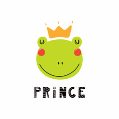 Hand drawn vector illustration of a cute funny frog face in a crown, with lettering quote Prince. Isolated objects. Scandinavian style flat design. Concept for children print.