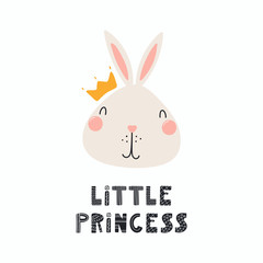 Hand drawn vector illustration of a cute funny bunny face in a crown, with lettering quote Little princess. Isolated objects. Scandinavian style flat design. Concept for children print.