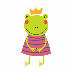 Hand drawn vector illustration of a cute funny frog girl in a dress and crown. Isolated objects. Scandinavian style flat design. Concept for children print.