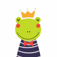 Hand drawn vector illustration of a cute funny frog prince in a shirt and crown. Isolated objects. Scandinavian style flat design. Concept for children print.