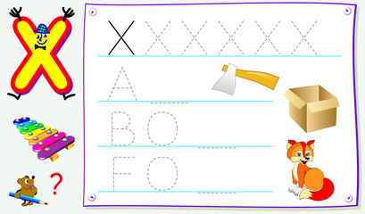Educational page for young children with letter X for study English. Developing skills for writing and reading. Vector cartoon image.