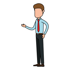 elegant businessman talking avatar character vector illustration design