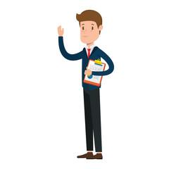businessman sad with clipboard avatar character vector illustration design