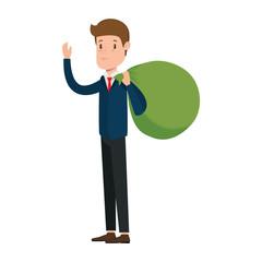 businessman sad with money sack avatar character vector illustration design