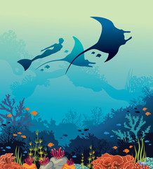 Vector illustration with mantas, freediver and coral reef.
