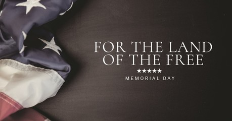 memorial day message and stars with american flag and black