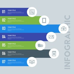 Flat business, money, email infographic steps template with 7 options for presentations, advertising, annual reports.