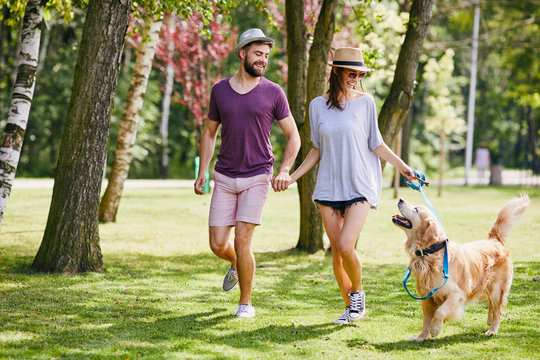 Young couple walking their dog together in the park during summer