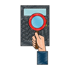hand with magnifying glass and calculator vector illustration design
