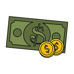 coin and bill dollars money vector illustration design