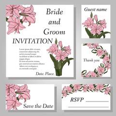 Set of botanical handpainted Amaryllis (Hipperastrum) flower wedding invitation card.
