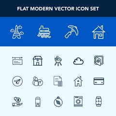 Modern, simple vector icon set with email, finance, cloud, grill, construction, cooking, crane, tower, safety, banking, billboard, message, bbq, estate, architecture, banner, barbecue, paris icons