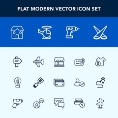 Modern, simple vector icon set with transport, tool, utensil, card, balance, work, way, concept, aircraft, creative, plane, backdrop, banking, bank, cost, light, construction, sale, business icons