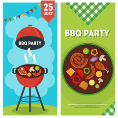 Barbecue party vertical banners with a grilled food and cooking utensils.