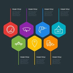 Flat geometric transports, industry, shopping infographic steps template with 7 options for presentations, advertising, annual reports