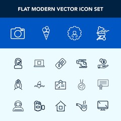 Modern, simple vector icon set with headset, technology, center, surf, equipment, call, bbq, row, grill, surfer, game, tropical, personal, card, doctor, meat, lens, profile, white, money, office icons