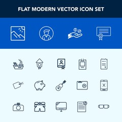 Modern, simple vector icon set with template, guitar, military, book, finance, war, business, certificate, office, house, scenery, photography, birdhouse, photo, music, landscape, concert, paper icons