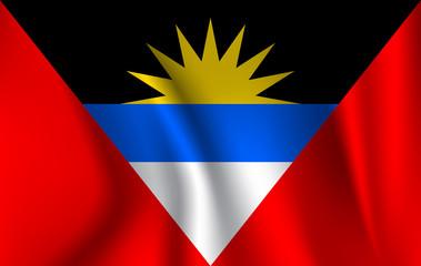 Flag of Antigua and Barbuda. Realistic waving flag of Antigua and Barbuda. Fabric textured flowing flag of Antigua and Barbuda.