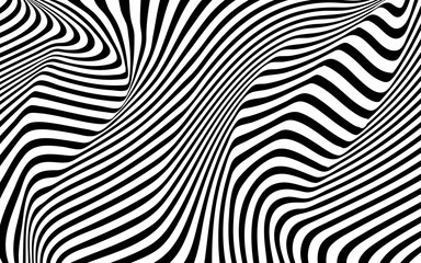 optical art wave abstract background black and white