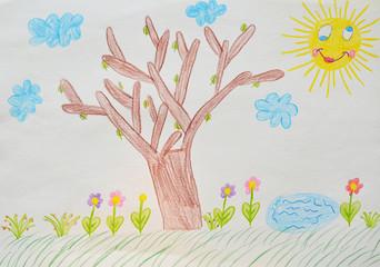 child's drawing, garden