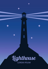 Lighthouse silhouette at night vector poster