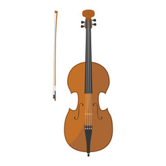 Vector illustration of a cello in cartoon style isolated on white background
