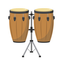Vector illustration of conga drums in cartoon style isolated on white background