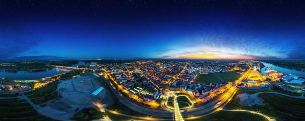Panorama von Worms am Rhein Nachts volle 360°
