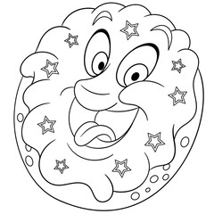 Coloring book. Coloring page. Colouring picture. Donut with sprinkling stars.