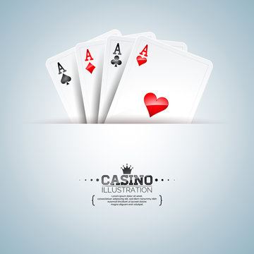 Vector illustration on a casino theme with poker cards on clean background. Gambling design for poster, greeting card, invitation or promo banner.