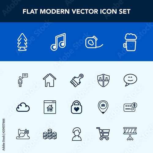 modern simple vector icon set with tape style online chat