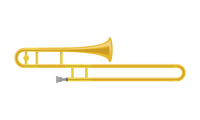 Vector illustration of a trombone in cartoon style isolated on white background