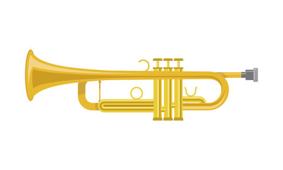 Vector illustration of a trumpet in cartoon style isolated on white background