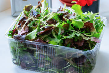 Macro closeup of mixed green salad in box