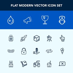 Modern, simple vector icon set with nature, surgeon, liquid, bbq, medicine, seedling, travel, grill, doctor, finger, index, packaging, life, gesture, masquerade, baggage, package, water, science icons