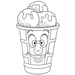 Coloring book. Coloring page. Colouring picture. Ice Cream Scoop.